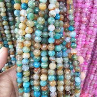 Wholesale zodiac accessories online - 8mm Natural Stone Faceted Agate Beads Round Loose Beads For Jewelry Making Craft Material Bracelet Accessories