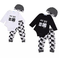 Wholesale Kid Hat Funny - fashion Baby Boy Girl sets Kids Newborn Infant new guy so fly funny letter printed Romper+pants+Hat bodysuit Outfits top Clothing Set 3pcs B