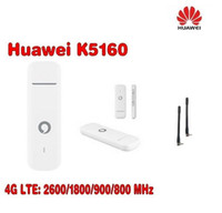 Wholesale 4g Lte Usb Modem - Unlocked Huawei Vodafone K5160 with Antenna 4G LTE Modem Stick Datacard 4G USB Dongle Plus 2pcs CRC9 antenna