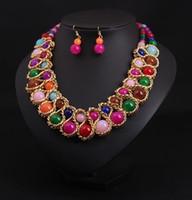 Wholesale choker bib necklace - 2018 New Fashion Ethnic Chain Choker Vintage Rhinestone Neon Bib Statement Necklaces & Earring Dangle Women Jewelry Gift