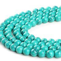 Wholesale blue round stone necklace resale online - 4MM MM MM MM Blue Turquoise Round Stone Beads For Bracelet Necklace DIY Jewelry Making