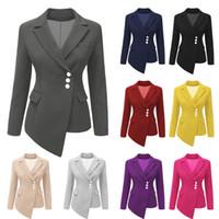 ropa de estilo occidental al por mayor-Moda delgado asimétrico traje de mujer botones botones manga larga sólido dama chaqueta casual corta ropa de estilo occidental AAA692