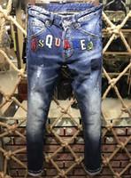 Wholesale Denim Jeans 27 - Men's Casual Letter Applique Pants Elegant Decoration Design Biker Blue Print Coated Jeans For Hip Hop Fashion Clothing Slim Fit Tops 9155