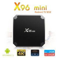 caja mini tv set al por mayor-X96 Mini android tv box Quad Core 2GB 16GB Amlogic S905W Streaming Media Player Smart tv Set Top box