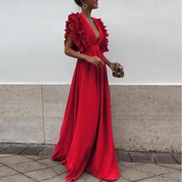 vestido vermelho longo mais tamanho venda por atacado-Tente Tudo Vestidos Vermelhos Para A Mulher Vestido Longo De Noite Verão Plus Size Elegante Vestido De Festa 2018 Ruffle Manga Vestidos Das Mulheres