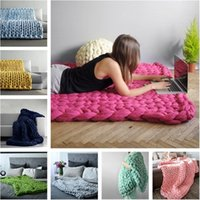 Wholesale thick warm blankets online - Hot sale High quality Warm Chunky Knit Blanket Thick Woven Yarn Wool carpet Bulky Knitted Sofa Blanket T3I0063