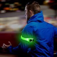 correa de cinturón reflectante de seguridad al por mayor-¡Bonito! 1 PC Al aire libre Correr Ciclismo Reflectante LED ajustable Lámpara de brazalete Cinturón de seguridad Correa del brazo Luz nx