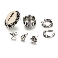 vintage-manschetten-set großhandel-Bohemian Vintage Ohrclips Für Frauen Modeschmuck Sets Silber Schöne Shell Geometrie Form Ohrstulpe Ohrringe 7 teile / satz D572L