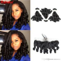 Wholesale human hair egg curl weave resale online - Remy Funmi Human Hair Bundles with Frontal Rabake Peruvian Funmi Hair Egg Curls Weave Extensions Funmi Bouncy Curl x4 Lace Frontal Closure