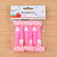 Wholesale polka dot party favors - Solid Color Polka Dot Blowouts Paper Blow Outs Noise Makers Whistle Kids Gift Favors Birthday Party Supplies