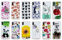 Wholesale silicone cover penguin - Panda Soft TPU Case For iphone X 10 8 7 Plus 6 6S Galaxy S9 S8 Flower Butterfly Dog Owl Heart Penguin Doughnut Cartoon Cover Cutely Fashion