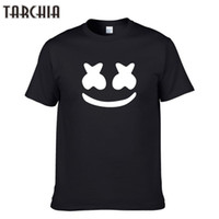 Wholesale white face wash - TARCHIA New Arrived marshmello face men short sleeve boy casual homme t-shirt cotton tops tees t shirt tee plus fashion