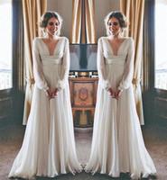 Wholesale wedding dresses chiffon greek style online - Modest Hippie Boho Beach Wedding Dresses Long Sleeves V Neck Plus Size Chiffon Cheap Summer Maternity Country Greek Style Bridal Gowns