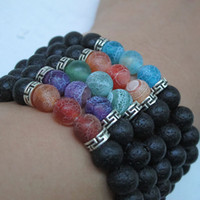 ingrosso yoga regali all'ingrosso-Nome di moda Brand Natural Stone Lava Beads Stand Bracciali per le donne Black Charm Yoga Bangle Bracelet Bel regalo Prezzo all'ingrosso