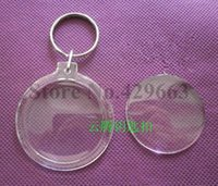 Wholesale wholesale picture frames free shipping - Free shipping 35pcs lot Round Transparent Blank Insert Photo Picture Frame Key Ring Split keychain