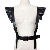 Wholesale leather strap body harness - 2017 hot new Personality Shoulders sexy Belt Faux Leather Body Bondage Corset female Harness Waist Belt Straps Suspenders