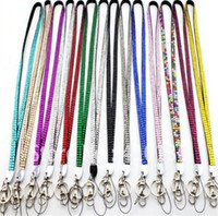 Wholesale neck bling lanyard crystal rhinestone - Wholesale - 300pcs Bling Lanyard Crystal Rhinestone in neck with claw clasp ID Badge Holder for Mobile phone