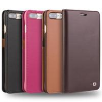 neue flip-telefone großhandel-Neue Ledertasche für iPhone 7 Kartenhalter Flip-Cover für iPhone 7 plus handgefertigte Luxus-Ultra-Slim-Handyhülle 4,7 / 5,5-Holster