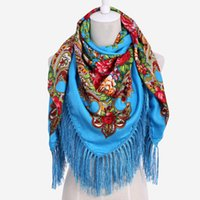 Wholesale big size scarves resale online - Big Size Square Scarf Cotton Long Tassel Print Scarf Winter Shawl For Women floral