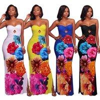 Wholesale womens strapless long dresses - Womens Big Flower 3D Digital Print Long Summer Dress Strapless Keyhole Top Side Split Casual Maxi Dress 2018