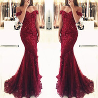 Wholesale burgundy prom dresses for sale - Group buy Prom Dresses Elegant Red Burgundy Sexy Sweetheart Off shoulder Glamorous Mermaid Evening Gowns Plus Size Vestidos De Festa