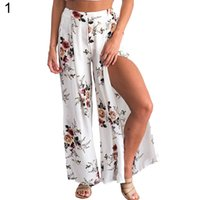 weibliche rockhose großhandel-Sommer-weiblicher eleganter Strand Culottes Palazzo Maxirock hohe Taillen-Blumendruck-weites Bein-lose Hosen-aufgeteilte Hose 2018 neu
