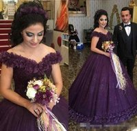Wholesale engagement dress long sleeve - 2018 Purple Off the Shoulder Ball Gown Tulle Flowers Evening Dresses Beads Sequins Sweep Train Engagement Dress Pageant Gowns Custom Made