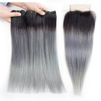 Wholesale colored ombre hair for sale - Ombre Grey Straight Human Hair Bundles with Closure T B Grey Colored Brazilian Hair Extension Brazilian Peruvian Indian Malaysian Hair