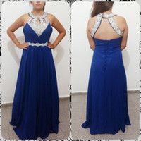 Wholesale empire halter floor length chiffon - Beaded Halter Neck Chiffon Evening Dresses Lace Up Evening Gowns New Royal Blue Long Prom Dresses