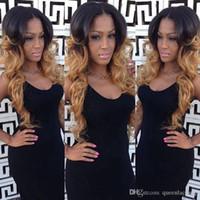 pelucas rizadas de alta calidad de largo al por mayor-Alta calidad Ombre pelucas 1B / 27 # BlackBlond largo y rizado cuerpo pelucas delanteras del cordón ondulado resistentes al calor sintético pelucas delanteras del cordón para las mujeres negras
