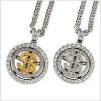 22dec3357e56 Hip-hop Rap Style 9 mm de grosor 80 cm Cuerda larga US Dollar Logo Cadena  18 K oro plateado plateado collar para hombre
