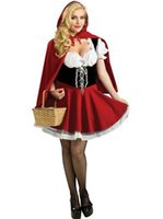 Wholesale sexy little red riding - Sexy Women Cosplay Little Red Riding Hood Fantasy Game Uniforms Dress Outfit S-6XL Halloween COS Costumes Free Shipping