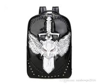 Wholesale 3d animal backpacks - Factory sales Europe and the new 3D stereo wolf men and women backpack high-grade Pu student computer bag large capacity backpack punk