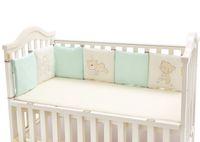 ingrosso set da letto per neonati-Paracolpi in cotone 100% per bebè ricamato Orso morbido per bambini protezione per ogni pezzo 30 * 30cm lettino per bambini gratis