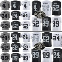 Wholesale Raiders Baseball Jersey - Men's Oakland #4 Derek Carr jersey 24 Marshawn Lynch 52 Khalil Mack 89 Amari Cooper 75 Howie Long Home jersey Raider Jerseys