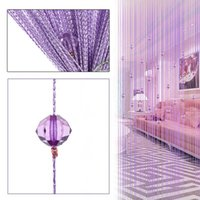 Wholesale string crystals beads resale online - Solid Window TreatmenTassel Curtain Crystal Beads Tassel Silk String Curtain Window Divider Sheer Curtains Valance Windows Panel Curtain