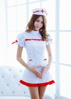 Wholesale summer nurses uniforms for sale - Group buy Halloween Costumes Nurse Uniform Cosplay Party Dresses white dress role play clubwear sexy ladies mini dresses with hat