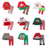Wholesale christmas sets kid suits online - Kids Girls Christmas Clothing Sets Xmas Ins Outfits Cotton Floral Striped Suits santa Children Long Sleeve Dress Clothes GGA795 sets