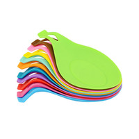 Wholesale glass coasters free shipping resale online - Tableware Pad Silicone Spoon Insulation Mat Drink Glass Coaster Tray Heat Resistant Placemat ZA6971