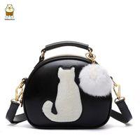 Wholesale Cute Tops For Women - 2018 Cute Cartoon Small Cat Top-Handle Handbags Tote Bag For Women Girls Shoulder Bags Messenger Crossbody Bags