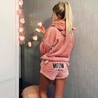 kediler pijama toptan satış-Kadın Mercan Kadife Takım Elbise Iki Parçalı Sonbahar Kış Pijama Sıcak ev tekstili Pijama Sevimli Kedi Miyav Desen Hoodies Şort Set FS 5867
