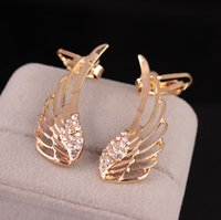 Wholesale winged cuff earrings resale online - Hot Europe Fashion Jewelry Rhinestone Angle Wings Sutd Earrings Women s Ear Cuff Earrings S68