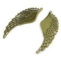 ingrosso collana di bronzo angelo delle ali-Ciondolo in bronzo a forma di angelo con pendente a forma di angelo in filigrana