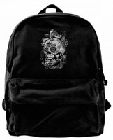 ingrosso tatuaggio cranio-Sugar Skull Rose Eyes teschi tatuaggi Moda Canvas Best Backpack Unique Camper Backpack per uomini Donne Adolescenti College Travel Daypack Nero