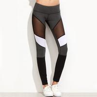 seksi yoga pantolonları toptan satış-Kadınlar Profesyonel Gym Spor Yoga Pantolon Spor Koşu Koşu Yoga Tayt Seksi Örgü Patchwork Nefes Hızlı Kuru Sportwear stokta