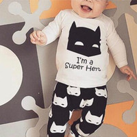 Wholesale Wholesale Toddlers T Shirts - 2018 Baby infants clothing I'm a super hero Letters Ins boy Outfits Toddler clothes Long sleeve T-shirt Tops + Pants 2pcs