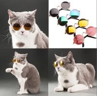 Wholesale small dog sunglasses online - Pet Accessories Cat Dog Glasses Pet Sunglasses Small Dogs Cat Eye wear Protection Pet Cool Glasses Photos Props KKA5210