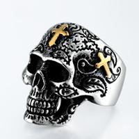 gothic crosses 2018 - Men''s Fashion Vintage Gothic Cross Funny Skull Retro Flower Design 316L Stainless Steel Cool Sugar Skull Classics Biker Rings Siz