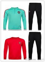 Wholesale men longsleeve - 2017 18 Portugal trainingsuit kits longsleeve jacket tracksuit Soccer Jersey RONALDO Giroud jersey Football training wear