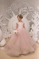Wholesale images beautiful girls - Beautiful Girls Dress For Wedding White Beaded Flower Girl Dresses Jewel Neckline Floor Length Lovely Princess Girls Pageant Party Gowns
